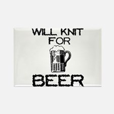 Will Knit for Beer Rectangle Magnet