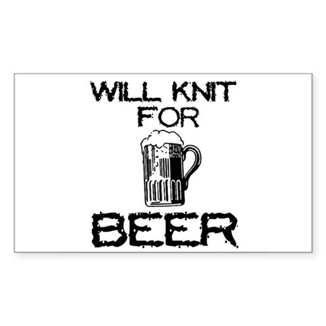 Will Knit for Beer Rectangle Sticker