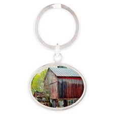 The Old Red Barn Oval Keychain