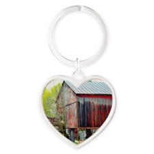 The Old Red Barn Heart Keychain
