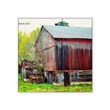 """The Old Red Barn Square Sticker 3"""" x 3"""""""