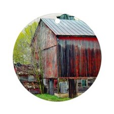 The Old Red Barn Round Ornament