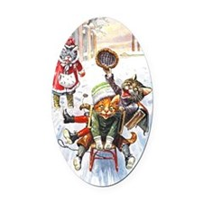 Thiele Cats Sled 1 Oval Car Magnet