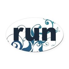 runblue_sticker Oval Car Magnet