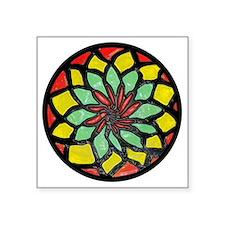 "Rasta Flower Square Sticker 3"" x 3"""