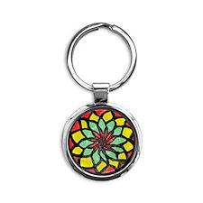 Rasta Flower Round Keychain