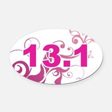 13.1_sticker_pink Oval Car Magnet