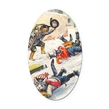 Thiele Cats Sled 3 Oval Car Magnet