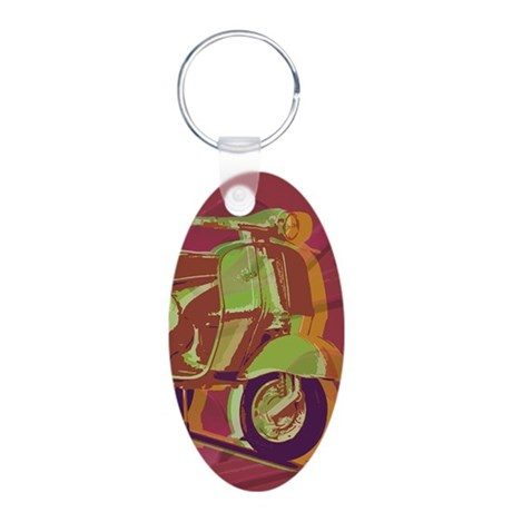 vespa-largeposter Aluminum Oval Keychain