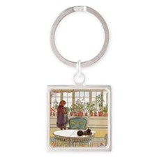 Girl at Window Square Keychain