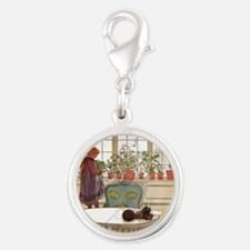 Girl at Window Silver Round Charm