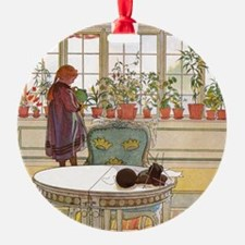Girl at Window Round Ornament