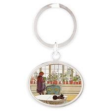 Girl at Window Oval Keychain