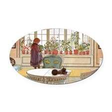 Girl at Window Oval Car Magnet
