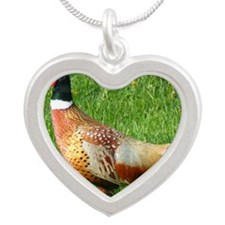 Ring-necked Pheasant Silver Heart Necklace