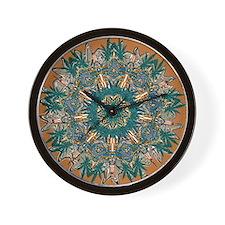 CANNABIS LEAF III TEAL/ORNG Wall Clock