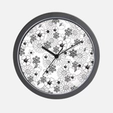 Black and White Floral Wall Clock