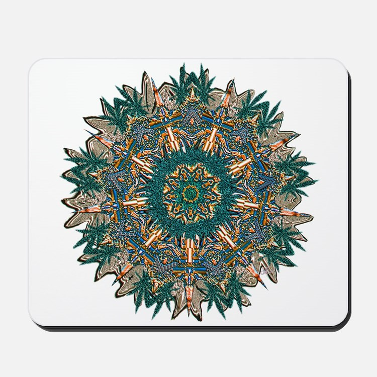 CANNABIS LEAF II TEAL/ORNG Mousepad