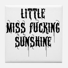 Little Miss Sunshine (Black Letter) Tile Coaster