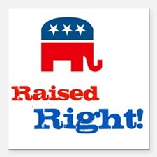 "Raised Right Square Car Magnet 3"" x 3"""
