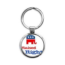 Raised Right Round Keychain