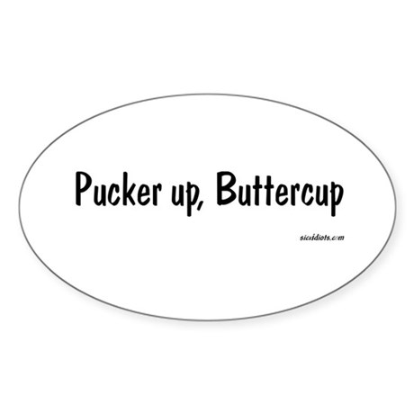 Pucker up Oval Sticker