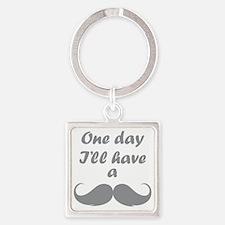 OneDayMustache1C Square Keychain