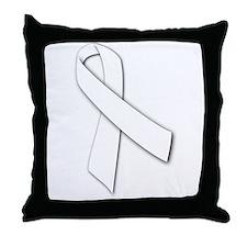 White Ribbon Throw Pillow