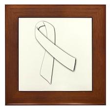 White Ribbon Framed Tile