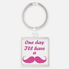 OneDayMustache1F Square Keychain