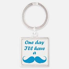 OneDayMustache1E Square Keychain