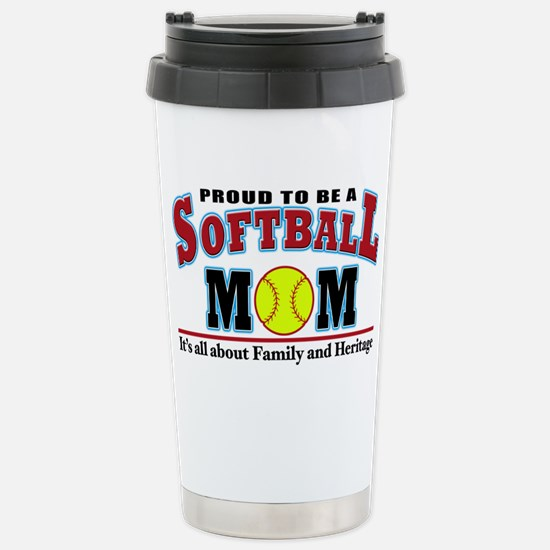 softball mom(white) Stainless Steel Travel Mug