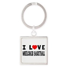 I Love Wheelchair Basketball Square Keychain