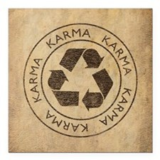 "Vintage Karma Square Car Magnet 3"" x 3"""
