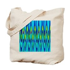 Wild Zigzag Blue and Lime Tote Bag