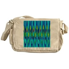 Wild Zigzag Blue and Lime Messenger Bag