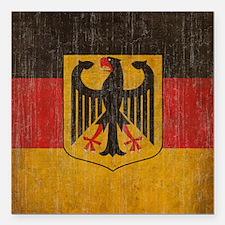 """Vintage Germany Flag Square Car Magnet 3"""" x 3"""""""
