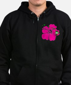 Hawaii Islands  Hibiscus Zip Hoodie