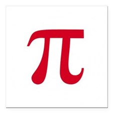 "pi white Square Car Magnet 3"" x 3"""