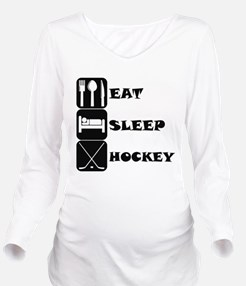 Eat Sleep Hockey Long Sleeve Maternity T-Shirt