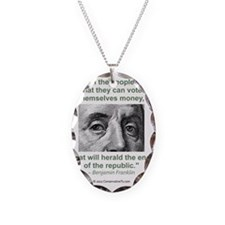Ben Franklin Money Quote Necklace
