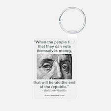 Ben Franklin Money Quote Keychains