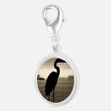 Great Blue Heron Silver Oval Charm