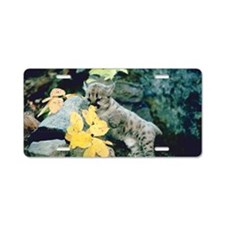 Cougar cub on rocks Aluminum License Plate