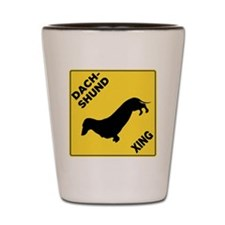 Dachshund Crossing Sign Shot Glass