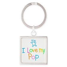 I Love My Pop Square Keychain