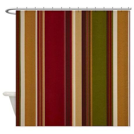 Autumn Colored Curtains Warm Fall Colored Stripe