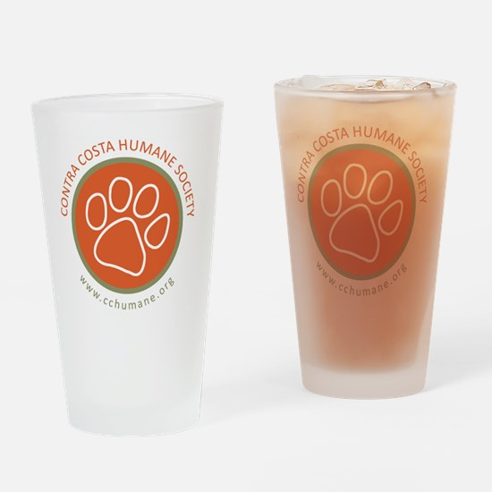 CCHS paw round logo with web site Drinking Glass