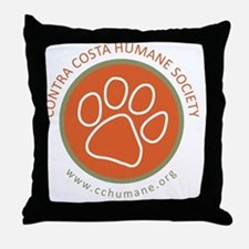 CCHS paw round logo with web site Throw Pillow