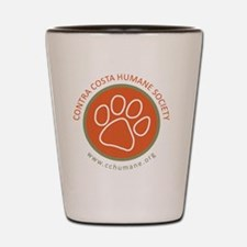 CCHS paw round logo with web site Shot Glass